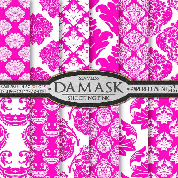 Shocking Pink Damask Digital Paper Pack Printable by PaperElement