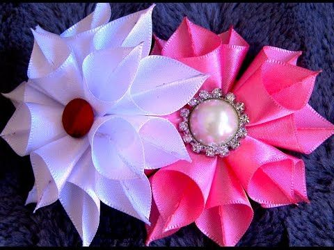Flor de fita ondas Diy \ Ribbon flower waves Diy - YouTube