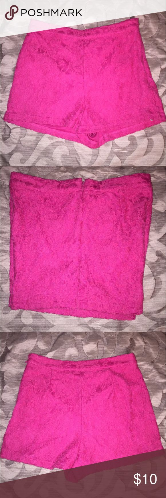 Forever21 hot pink lace shorts Forever21 hot pink lace shorts- size Small- zips up on the side Forever 21 Shorts