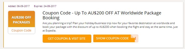 Alert: Expedia Promo Vodes Australia Are you planning a trip? Plan your holiday/business trip now for your favorite destination at worldwide and book your package with the discount of up to AU$200 when booking the flight and stay at the same time. just at Expedia.#Expedia_Australia #Expedia_Voucher_codes #vouchers #coupon_codes #promo_codes #expedia_au_promo_code #expedia_voucher_australia #Australia http://au.collectoffers.com/Expedia
