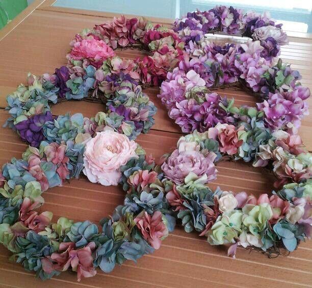 アートの紫陽花でリースレッスン