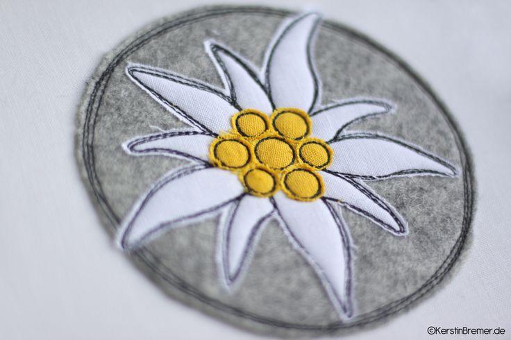 Button mit Edelweiß-Blüte. Schlicht, aber so schön ♥ Die Edelweiß Doodle Stickdatei ist von KerstinBremer.de ♥ doodle edelweiss appliqué embroidery for embroidery machines. Freehand machine embroidery style. #sticken #nähmalen #nähen #sewing #bayern #dirndl