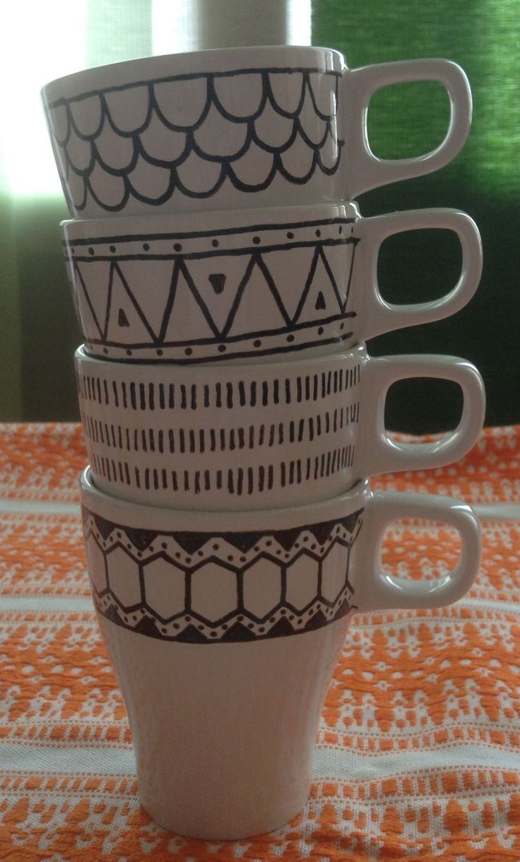 Tazze thè/latte con decorazioni geometriche_Design Craft www.designcraft.it