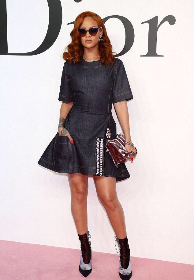 _Rihanna's-Dior-Fall-2015-Tokyo-Show-Custom-Dior-Denim-Dress-and-Dior-Resort-2016-Lace-Up-Boots