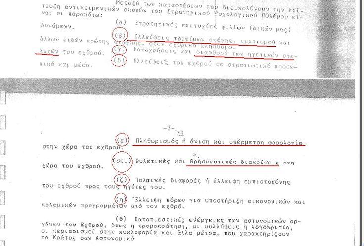 Απόσπασμα από το εγχειρίδιο ψυχολογικού πολέμου της (πάλαι ποτέ) σχολής «Ευελπίδων», που περιγράφει ορισμένα μέτρα στα πλαίσια μίας ψυχολογι...