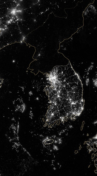 Satellie Eye on Earth: Korea and the Yellow Sea at night