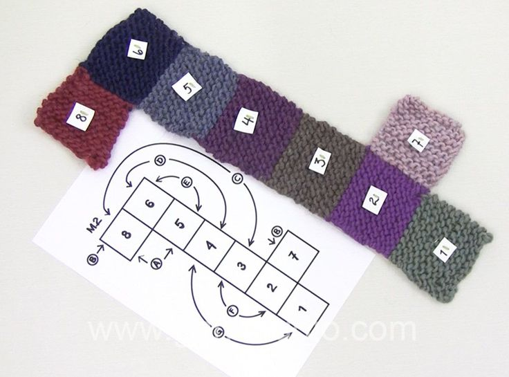 How to assembly slippers with squares following a chart