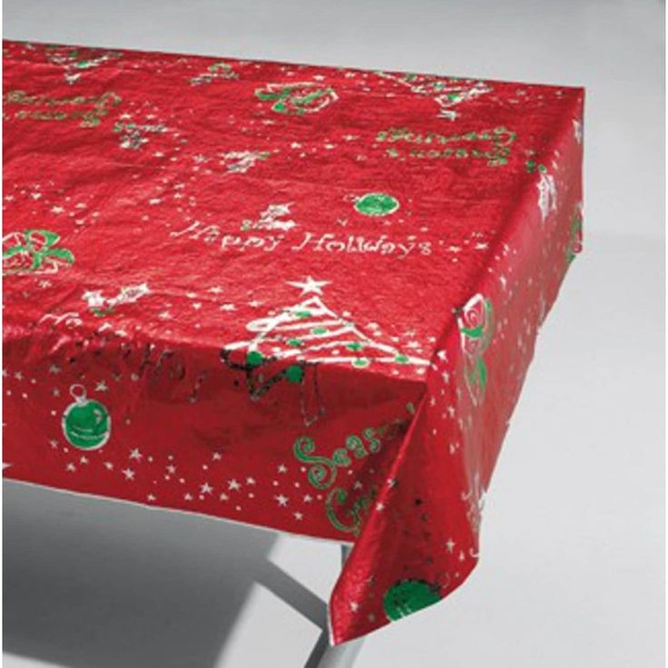 Pack of 6 Red, Green and Silver Metallic Christmas Design Party Table Cloths