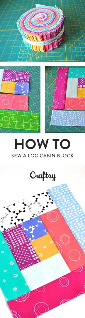 You've no doubt heard of the log cabin quilt block! This traditional quilt block is built from the center out, adding longer pieces with each step. Learn how to make this essential block. @craftsy