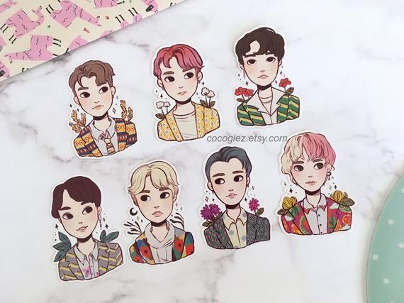 Full Pack Kpop Bts Idol Stickers Pack Jimin Jungkook Jin Etsy In 2021 Jimin Fanart Glossy Sticker Paper Idol