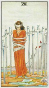 8 of swords, from the Universal Waite Tarot. Published by U. S. Games Systems, Inc. https://lifeofhimm.wordpress.com/2016/08/29/oracle-outlook-tarot-reading-for-august-29-september-4-2016/