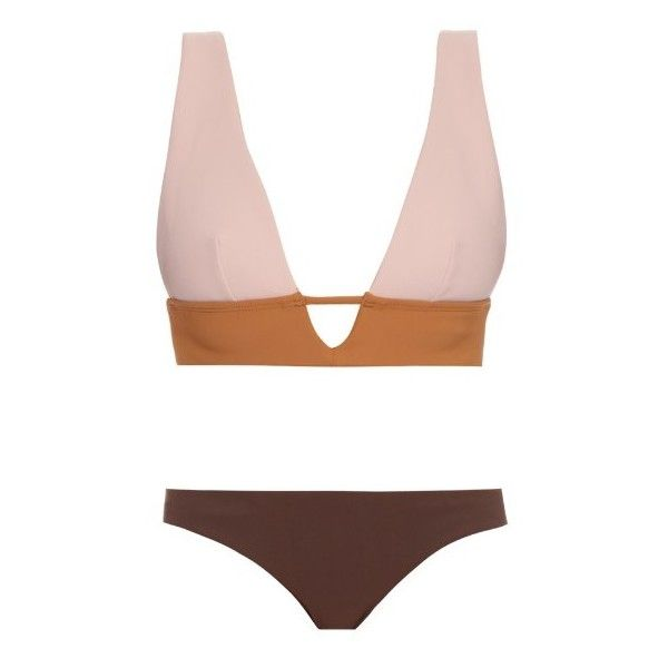 Zimmermann Chroma Sculpted bikini (€275) ❤ liked on Polyvore featuring swimwear, bikinis, brown multi, cutout bikini, zimmermann swimwear, brown bikini, triangle bikini and triangle swim wear