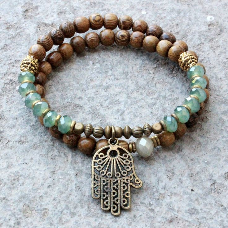 Wood and green crystal 54 bead wrap mala bracelet with Hamsa hand by #lovepray #jewelry
