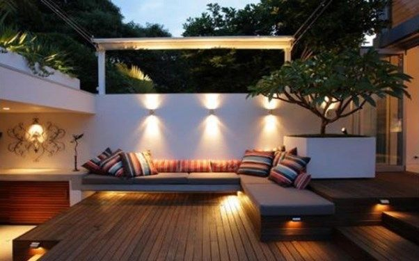 I want an entertaining deck setting, the lighting is very nicely done here.