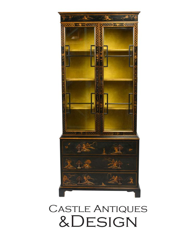 Scenes of pastoral Chinese life decorate the facade of this English Chinoiserie cabinet that can function as a display of chinaware or books. #oriental #antiquefurniture #blackandyellow #gold #oro #noho #losangeles