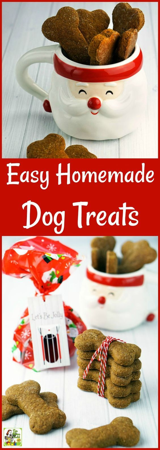 Looking for an easy homemade gift recipe for someone with a dog? Click to get this Easy Homemade Dog Treats recipe. #dog #dogs #dogtreats #healthydog #healthydogtreats #homemadedogtreats #homemadetreats #homemadegifts #dogbiscuits #dogtreat #glutenfree #wholewheat #healthytreat #doglover #doglovers