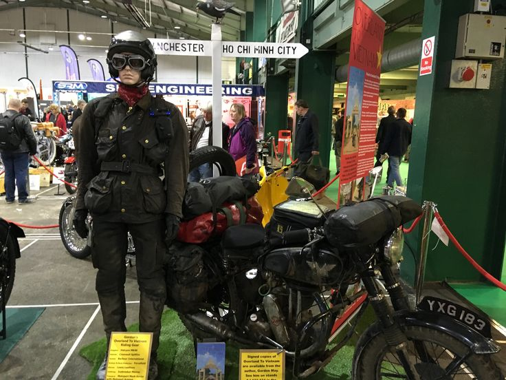 Overland to Vietnam Matchless 350cc at Stafford classic bike show.