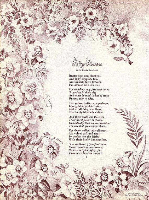 60s Vintage Fairy Poem  Ilustration - Double sided - Fairy Flowers and Trees  - 1965 - Wall Art - Poetry on Etsy, $6.00