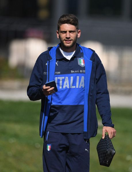 Domenico Berardi of Italy looks on prior to the training session at the club's training ground at Coverciano on April 11, 2017 in Florence, Italy.