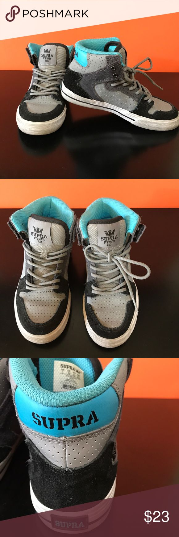 Boys Supra sneaker Aqua gray and black with suede and leather.  Clean and ready to run, skip and hop in.  Cool kid sneakers. Supra Shoes Sneakers