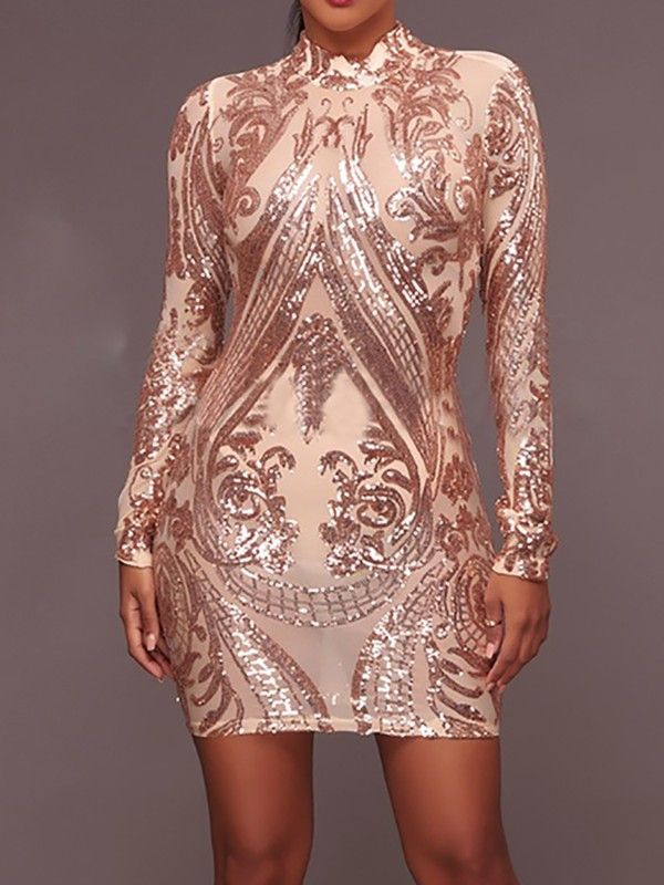 Glittering Sequins Bodycon Mini Dress