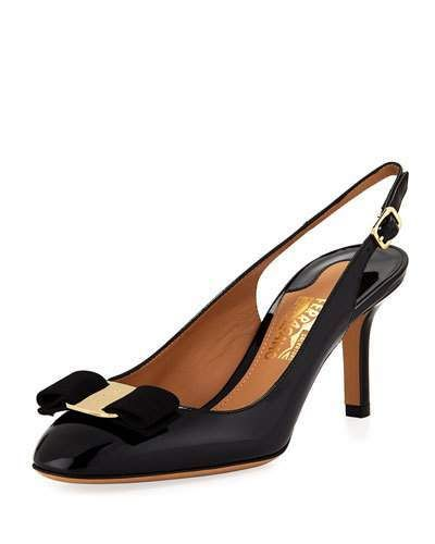 ce81bf61a1e0 Salvatore Ferragamo Slingback Pump with Signature Vara Bow