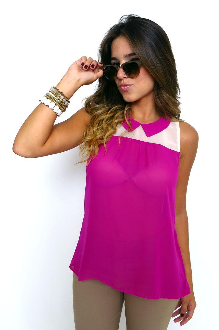 Blusa manga sisa cuello en punta. ZOCCA'S NEW COLLECTION !!! Encuentranos en nuestra tienda en linea . Ingresa a www.zocca.com.co . #clothing #fashion #eshop #tiendaenlinea #chambray #blusamangasisa #blusamagenta