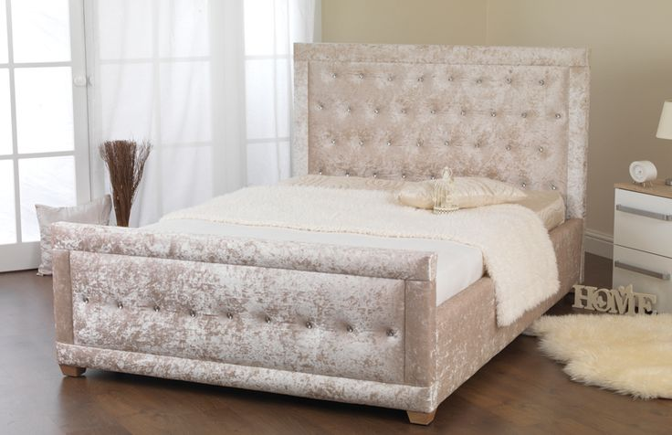 Lush and lavish crushed velvet bed frame, hand crafted in the UK and upholstered in beautiful crushed velvet.