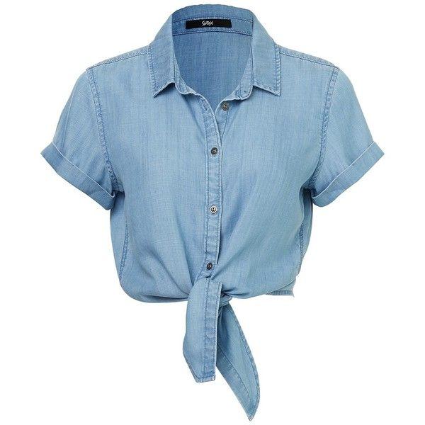 DENIM TIE HEM SHIRT ($56) ❤ liked on Polyvore featuring tops, tie top, lightweight shirt, sleeve shirt, blue shirt and button front shirt