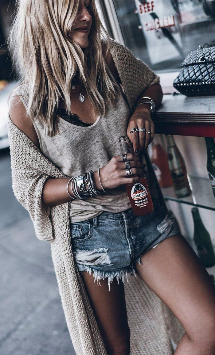 #summer #outfits Grey Tank + Beige Long Cardigan + Ripped Denim Short // Shop this outfit in the link