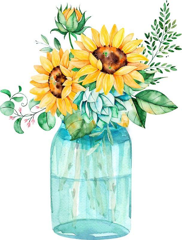Sunflowers Mason Jar Sunflower Bouquet Watercolor Watercolor