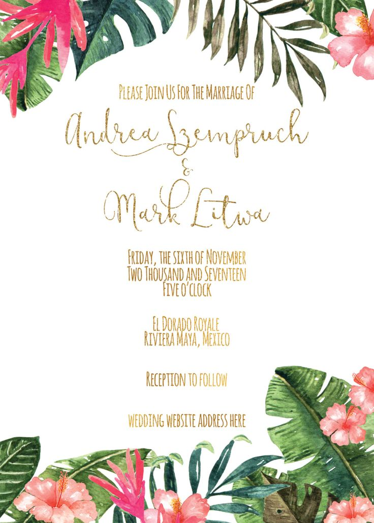 Hey friend! Thanks a bunch for your interest in my Destination Wedding Invitations. I truly hope its exactly what you wanted! This Tropical Wedding Invitation can be personalized for your Beach Wedding. This item is a personalized PRINTABLE, single-sided, either 4x6 or 5x7 invitation. You can either have the choice of printing it in the comfort of your home, or at any print/photo shop. All of my printables will be sent to you via email only for you to print yourself. Nothing will be phys...