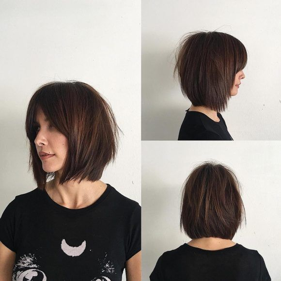Rich Brunette Soft Layered Bob With Curtain Bangs And Undone Straight Texture Thick Hair Styles Short Straight Hair Medium Hair Styles