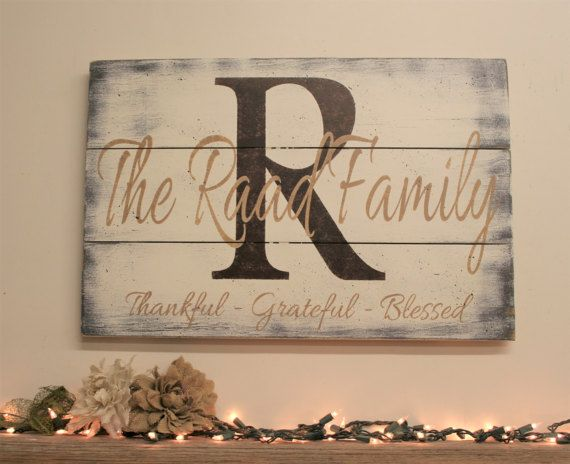 Pallet Wood Initial Sign Name Sign Family Name by RusticlyInspired