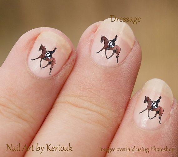 Rider on Dressage Horse Nail Art Stickers by Kerioak on Etsy