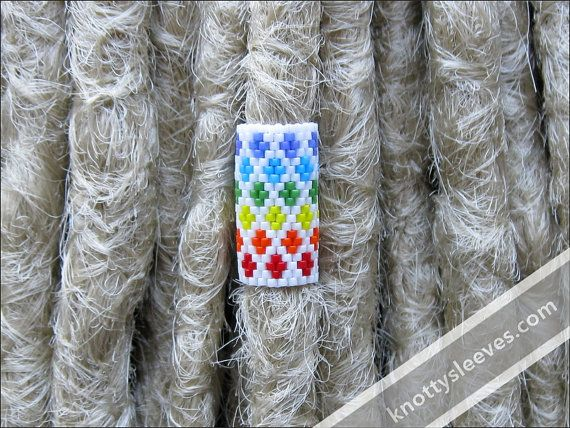 Dread Bead Peyote Stitch Dreadlock Sleeve - Inside the Rainbow on Etsy, $15.00