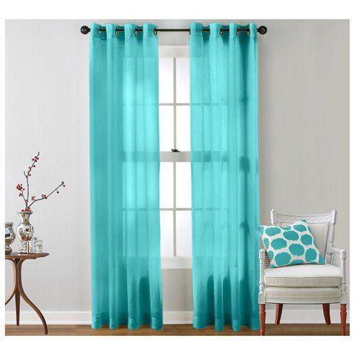 Hlc Me 2 Piece Sheer Window Curtain Grommet Panels Aqua Blue Teal Dwell Pinterest Teal