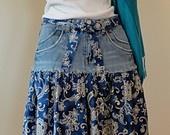 Upcycled Long Denim Skirt