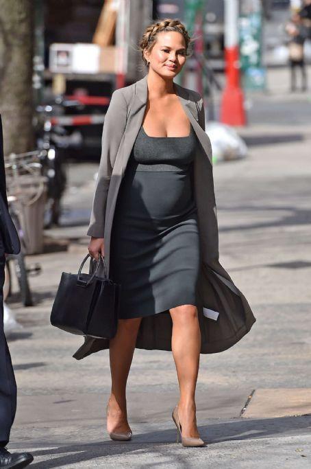 Chrissy Teigen In Black Dress Out In Nyc