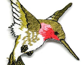 Beautiful hummingbird iron on patch   These embroidered iron-on bird transfers and appliques will make designs soar