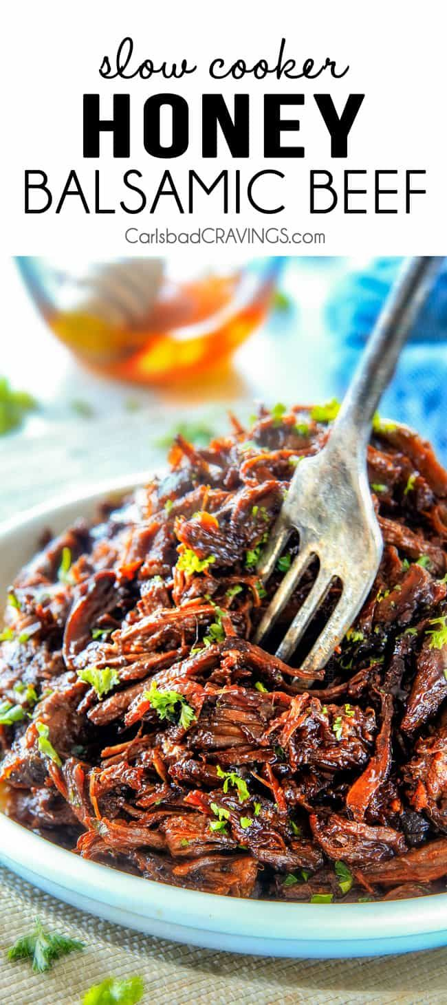 Slow Cooker Honey Balsamic Beef | Carlsbad Cravings | Bloglovin'