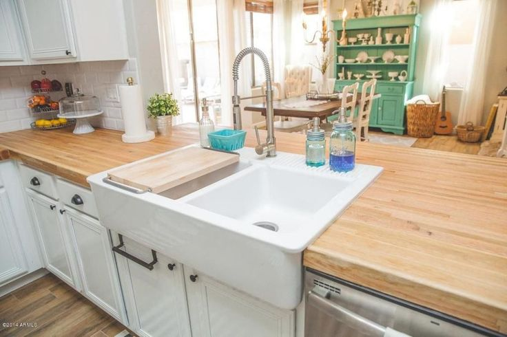 ikea butcher block countertops with faucet   Country Kitchen with Ikea Domsjo Double Bowl Sink ...