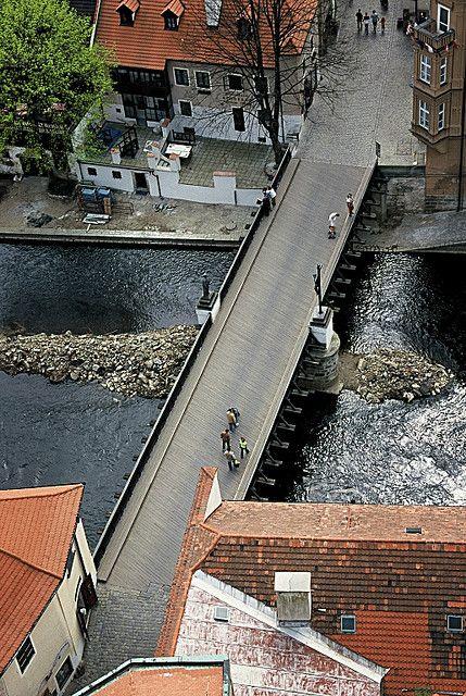Bridge over the Vltava river, Cesky Krumlov, Czech Republic