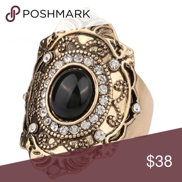 TheKatelynRing-OnWay!Gold&BlackBlingHolidaySparkle Gorgeous larger scale ring on the way, perfect for holiday gifting or to wear to any event! Only available in gold with black accents. Jewelry Rings