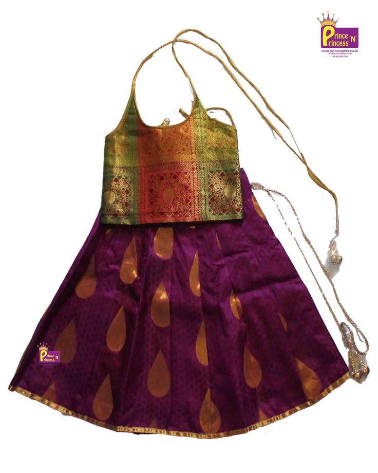 Grand kids Trendy Pattu Pavadai langa from www.princenprincess.in