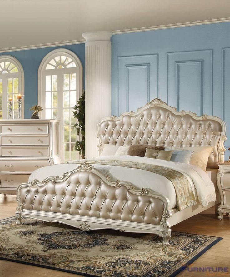 Acme Furniture - Chantelle California King Bed, Rose Gold PU & Pearl White - 23534CK