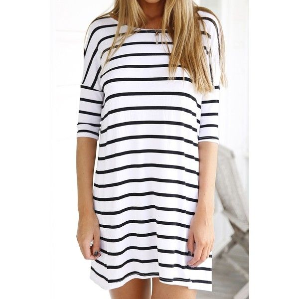 White Half Sleeve Striped Dress ($13) ❤ liked on Polyvore featuring dresses, elbow sleeve dress, half sleeve dress, elbow length sleeve dress, stripe dress and elbow length dresses