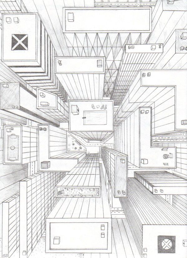 directly overhead birds eye view perspective drawing