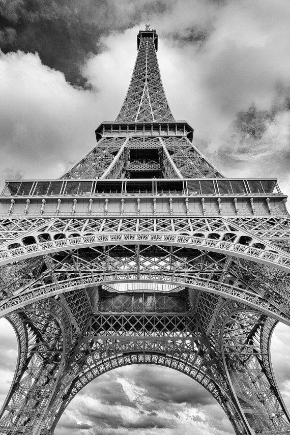 Eiffel tower print paris black and white paris by garyalanboxart