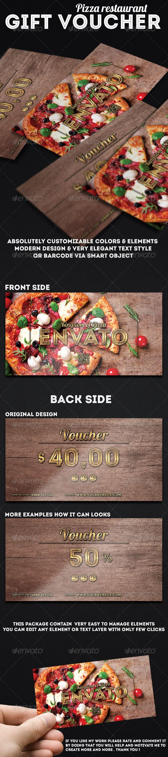 #Gift #voucher for pizza store - Cards & Invites #Print #Templates Download here: https://graphicriver.net/item/gift-voucher-for-pizza-store/7423034?ref=alena994